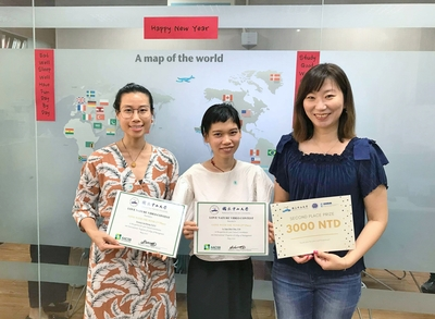 """Gone with the Wind"" won the 2nd prize. From left  Truong Lam Huong, Le Ngoc Bich Thuy and Dr. Sharon Wang."